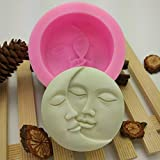 clifcragrocl Stampi per Dolci Moon Face Fondant Cake Stampo in Silicone Cucina DIY Sugarcraft Decorating Tool - Rosa