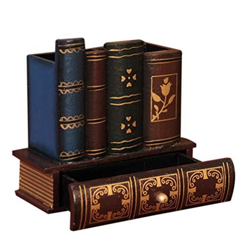 XIAOQIU Stiftehalter Multifunktions Retro Holz Stifthalter Buchform Holz Handwerk Wohnkultur Bleistift Desktop Aufbewahrungsbox Schubladen Schreibwaren (Handwerk Schubladen Weiß)