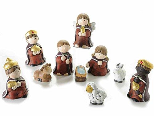 Gruppo maruccia personaggi presepe in ceramica dipinta set da 10 statuine