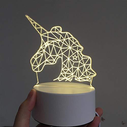 Lozhz 3D Bunte Karikatur-Nacht Beleuchtet Die Geburtstags-Weihnachtsgeschenke Der Acryl-Kinder Einhorn 233X170X53Mm 3801 Usb