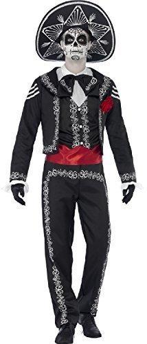 Herren Señor Skelett Tag der Toten Knochen Halloween Spanisch mexikanisch Zuckerschädel Kostüm Kleid Outfit - Schwarz, X-Large