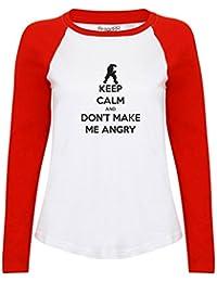 Brand88 - Keep Calm and Don't Make Me Angry , Damen Langarm Baseball T-Shirt