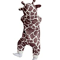 EGELEXY Baby Boys Girls Cartoon Giraffe Print Hooded Romper Warm Jumpsuit Outfits