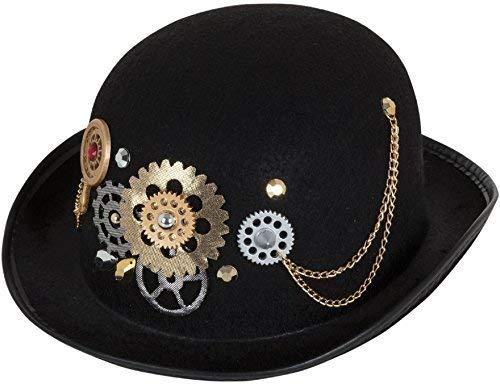 Fancy Me Erwachsene Herren Damen Steampunk Viktorianisch Wilder Westen Erfinder Schwarz Melone Kostüm Kleid Outfit Zubehör Hut