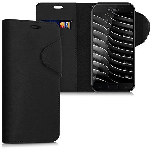 kalibri-Hlle-fr-Samsung-Galaxy-A5-2017-Echtleder-Wallet-Case-Schutzhlle-mit-Fach-und-Stnder-in-Schwarz