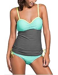Minetom Bañador Tankini De Dos Piezas Mujer Bikini Top Verano Elegante Cómodo Beach Swimwear Bloque De Color Bandolera