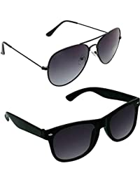 Xforia Polarized Stylish Wayfarer & Aviator Sunglasses For Women & Men Combo Of 2 (DX-FLX- 14 | Grey & Black |...