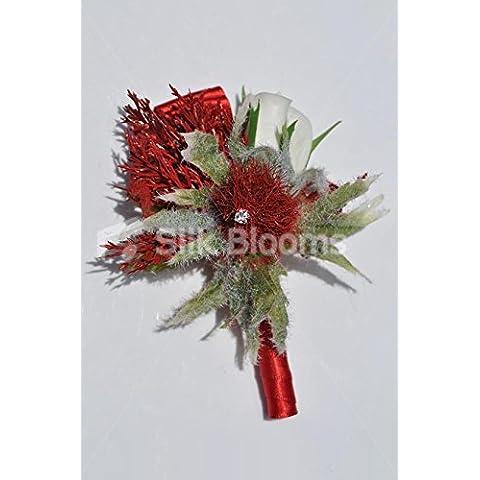 Rosso rubino Highland Cardo Scozzese Bianco e Rosa, asola