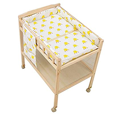 Baby Changing Table with Cotton Pad,Portable Wood Diaper Station w/Wheels,Nursery Dresser Station