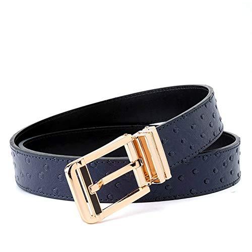 GOVVZ Gürtel Männer Gürtel Kummerbunde Metallschnalle Taille Ledergürtel für Männer,Dark Blue,115cm 38to41 Inch