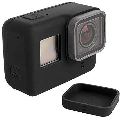 Étui de Protection pour GoPro Hero 5 Noir avec Bouchons D'objectif, FineGood Housse en Silicone à Caméra Et àObjectif pour Hero 5 Caméra D'action Caméra de Sport