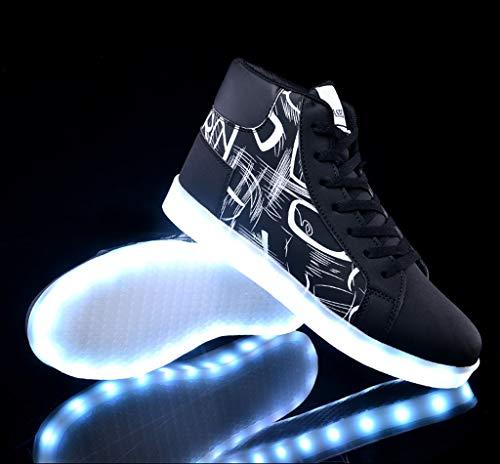 Zapatos que brillan intensamente coloridos Flash fluorescente LED que carga el cuadrado Fantasma Zapatos de baile Zapatos luminosos Cómodo Sudor absorbente Transpirable ( Color : B , Tamaño : 45EU )