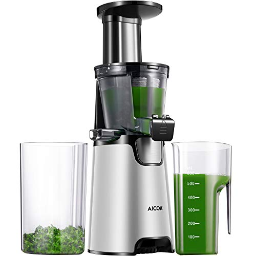 Aicok Juicer Slow Masticating juicer, cold press juicer with 150W Quite Motor for High Nutrient Fruit and Vegetable Juice, Frozen Desserts, Include Juice Jug and Cleaning Brush, Silver