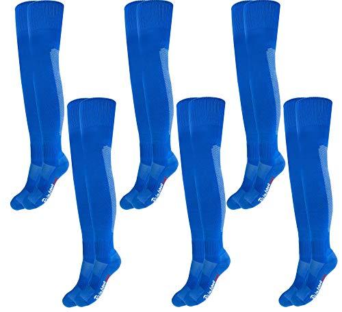 Rainbow Socks - Damen Herren Fußball Soccer Kniestrümpfe - 6 Paar - Blau - Größen: EU 44-46