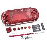 Boîtier de Remplacement pour Console de Jeu PSP1000 PSP 1000 avec Boutons Autocollants Rouge...