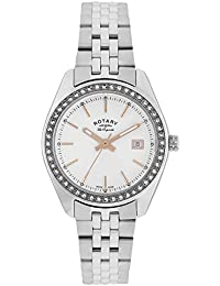 Rotary Women's Quartz Watch with White Dial Analogue Display and Silver Stainless Steel Bracelet LB90110/21