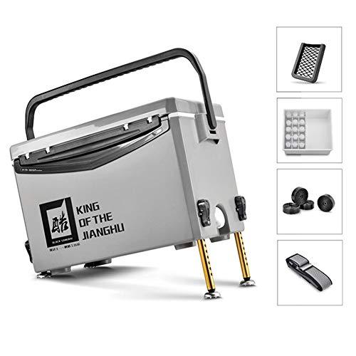 FJKLL Angelkoffer Mit und Sitzgelegenheit Fishing Box Raubfisch Mobile Passive Kühlbox Eisbox sitzbox Mit Deckel Angelkoffer Set groß Tackle Box 29L Mit Aluminium-AccessoiresBasic