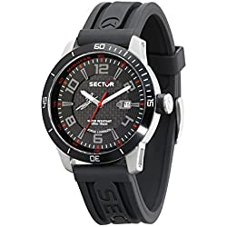 Sector No Limits 850 Men's Quartz Watch with Black Dial Analogue Display and Black Rubber Strap R3251575004
