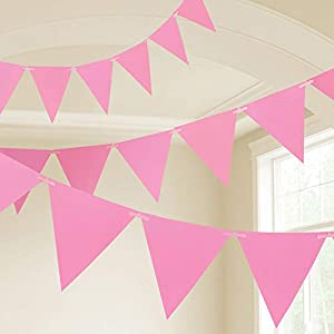 Amscan International- Cinta decorativa, Color 10m plastic pennant banner - new pink (9903785)