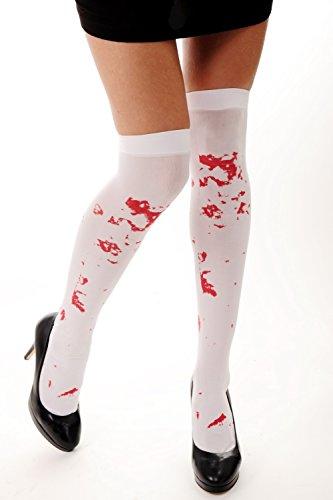 DRESS ME UP - Karneval Halloween Strümpfe Overknees Horror Krankenschwester Zombie weiß Blutflecken (Krankenschwester Patient Halloween Kostüm)
