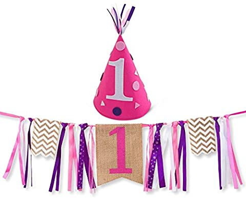 Girl First Birthday Decorations - 1st Birthday - Burlap Highchair Banner and Felt Hat Pack