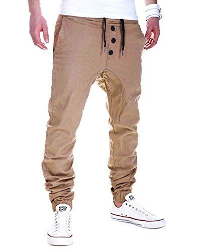 Pantalone de Sport Homme Slim Fit Chino Casual Long Pantalon pour Jogging Fitness Kaki