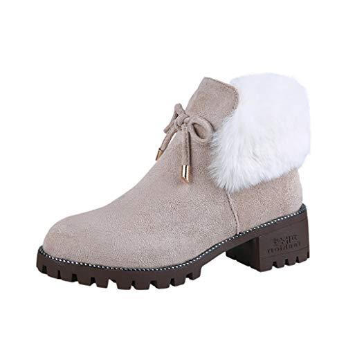 BIBOKAOKE Mode Wild Student Stiefel Plüsch warm halten Damen Schneestiefel Flache Schuhe Winterstiefel Reißverschluss Schneestiefel Sneaker Freizeitschuhe