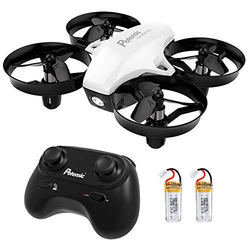 Potensic Mini Drohne mit 2 Akkus für Kinder und Anfänger, RC Quadrocopter, Mini Drone mit Höhenhaltemodus, Start / Landung mit einem Knopfdruck, Kopflos Modus, Spielzeug Drohne Helikopter A20 Weiß