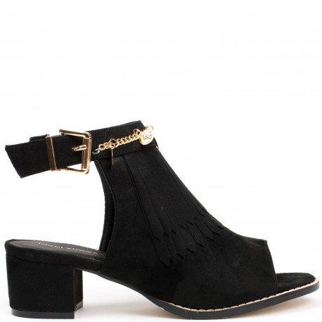 Ideal Shoes - Bottines à franges peep toe ouvertes à l'arrière effet daim Balia Noir