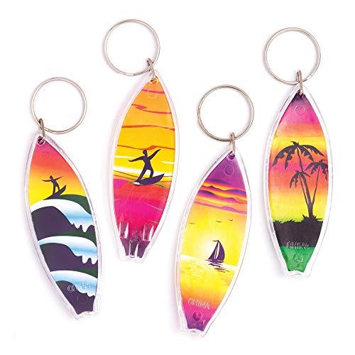 Baker Ross Llaveros plástico forma tabla surf, pack