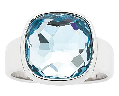 JEWELS BY LEONARDO Damen-Ring Cuscino, Edelstahl mit facettiertem Glasstein, Größe 18, 016575