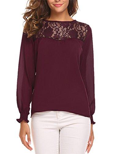 Meaneor Damen Bluse Chiffon Langarm Beiläufige Oberteil T-Shirt mit Spitze