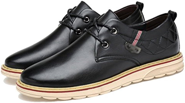 LYZGF Hombres Cuatro Estaciones Desenfadado Moda Negocios Inglaterra Juventud Encaje Zapatos De Cuero -