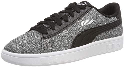 Puma Mädchen Smash v2 Glitz Glam Jr Sneaker, Schwarz (Puma Black-Puma Silver-Puma White), 38 EU
