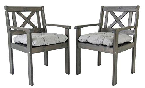 Ambientehome Lot de 2 chaises de Jardin ou terrasse EVJE en Bois Massif, Ton Gris Taupe avec Coussins Confortables en Coton, 59x64x90 cm