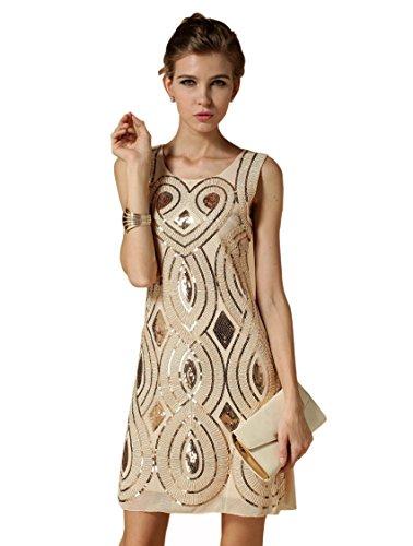 Babeyond Damen Flapper Kleid mit langem Troddel Great Gatsby Mottoparty Frauen Knielang Kleid Größe S