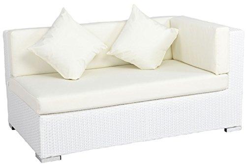 OUTFLEXX 2-Sitzer Ecksofa, weiß, Polyrattan, 145x85x70cm, Armlehne li, inkl. Polster und Kissen