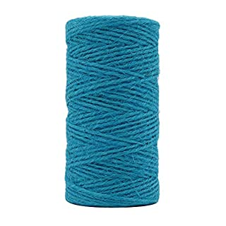 Tenn Well 2mm Jute Twine, 328 Feet Natural Jute String for Gardening, Gift Wrapping, Decoration, DIY Crafts (Turquoise Blue)