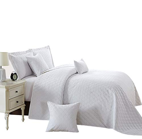 Sunrise Betten Luxus New 3Stück Tagesdecke, Bettwäsche-Set, Prime Gesteppt Tagesdecke mit Kissenbezüge, Polyester, Weiß, King (270 x 250 cm)