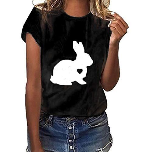 e Kaninchen Geste Print Kurzarm T-Shirt Tops O-Neck Bluse 2019 ()