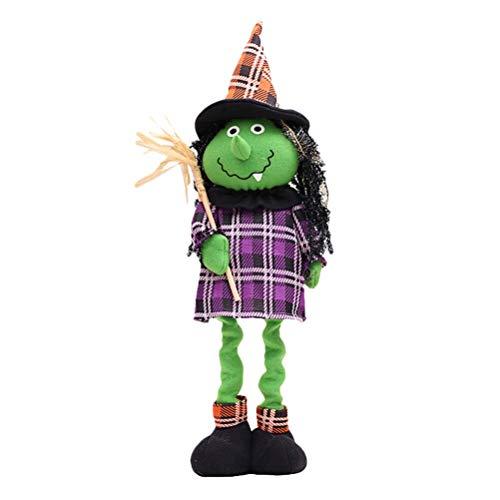 BESTOYARD Halloween Plüschtier Spielzeug Puppe mit ausziehbaren Beinen Halloween Party Dekorationen (Hexe)