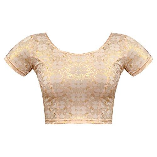 Bindigasm's ADVI Women's Shimmer Lycra Blouse (2044-M_Light Gold_Medium)