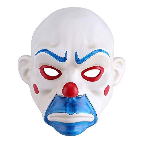 GNSDA Joker Bank Räuber Maske, Adult High-Grade-Harz Clown The Dark Knight Maske, für Halloween Prop Masquerade Party, Cosplay Kostüm Kostüm, für Männer Frauen Erwachsene (Dark Knight Kostüm Männer)