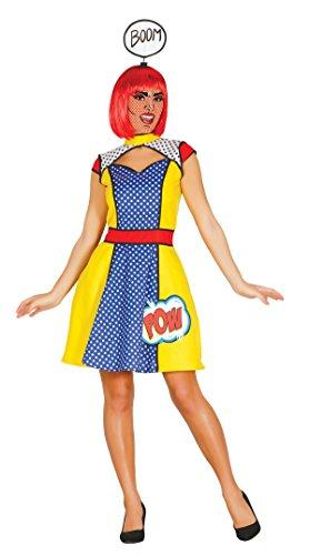 Pop Art Comic Kostüm für Damen (Pop Kostüm Perücke Art)