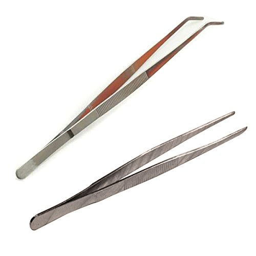 2pcs 25cm Long Stainless Steel Angled & Straigh Feeding Tongs Tweezers for Reptile Test