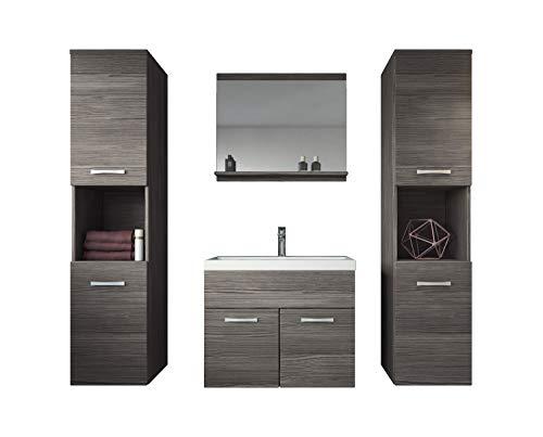 Badezimmer Badmöbel Set Montreal XL 60 cm Waschbecken Bodega - Unterschrank Hochschrank Waschtisch Möbel