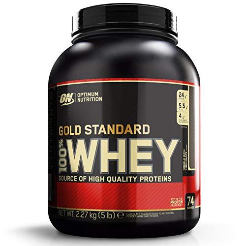 Optimum Nutrition 100% Whey Protéine Gold Standard - Double chocolat, 74 Portions - A base de Isolate / Concentré / Hydrolysé, 2,27 kg