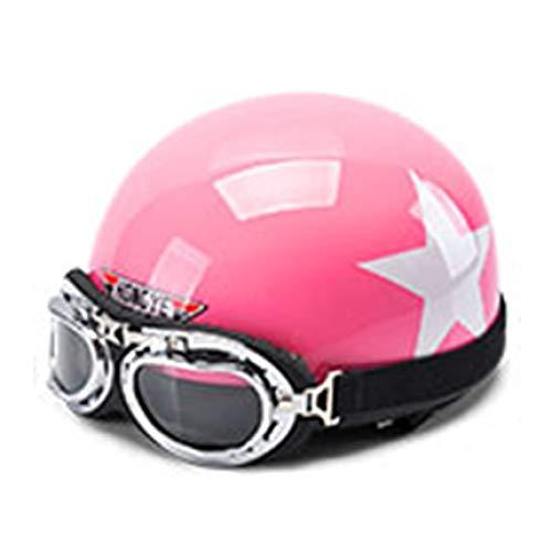 HSGZIS Motorfiets Open Face Half Lederen Helm Met Vizier UV Beschermbril Retro Vintage Style,Pink-Star
