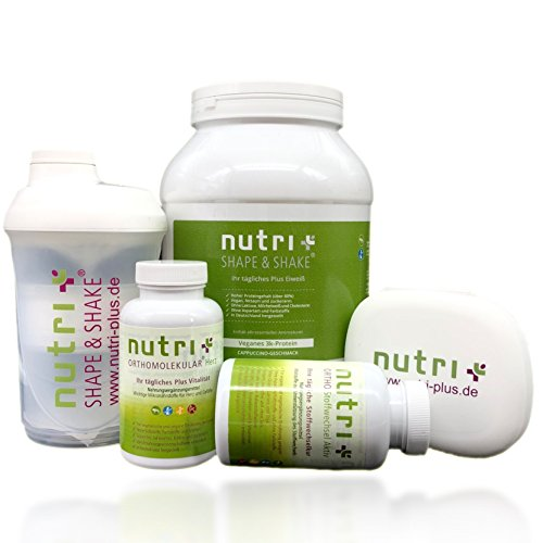 Nutri-Plus Stoffwechselkur Premium Paket (Eiweißpulver + A-Z Präparat mit OPC, Omega 3 + Stoffwechsel Aktiv mit Bromelain + Shaker) 60 Tage Kur