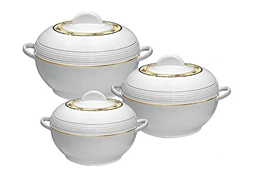 SQ Pro Ambiente Food Warmer Hot Pot Set of Insulated Casseroles, 1.2, 1.6, and 2.5 Litre, White (White)